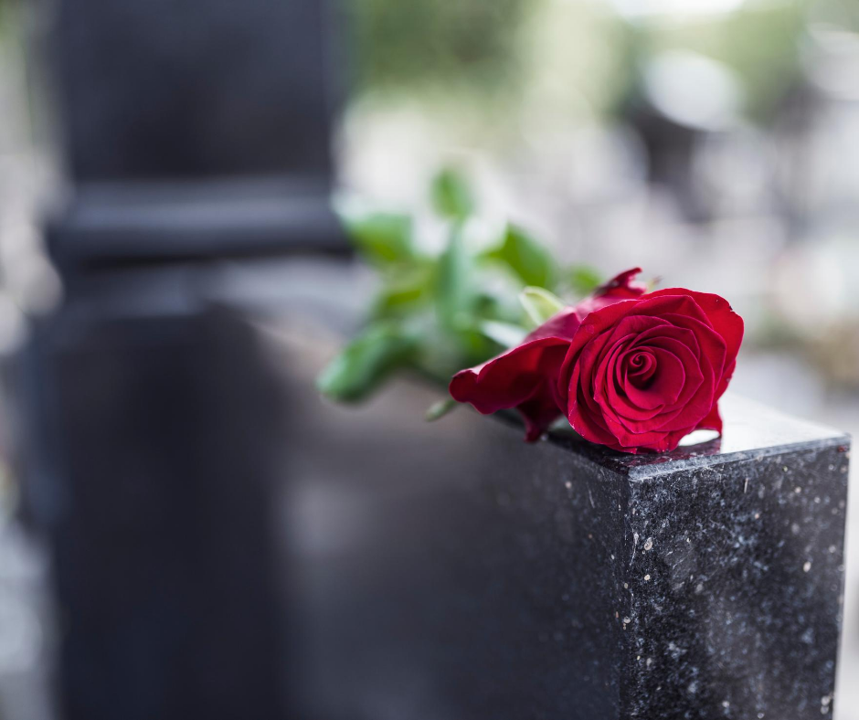 rose on a headstone | Buy a burial vault online | Overnight Caskets